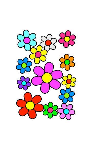 カラフル花模様 [ 白背景 ] No.3の画像(表紙)