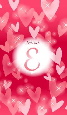 【E】イニシャル❤️ハート-赤2-