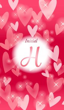 【H】イニシャル❤️ハート-赤2-