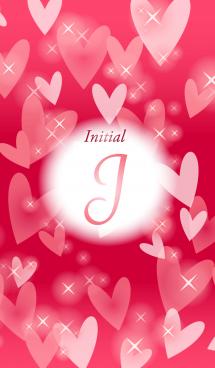 【J】イニシャル❤️ハート-赤2-