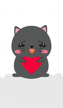 Simple Fat Black Cat Theme (jp) 画像(1)
