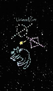 手書き宇宙と猫 画像(1)