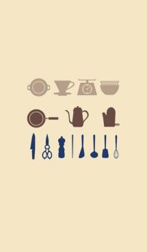 キッチンツールの着せ替え(紺&ベージュ) 画像(1)