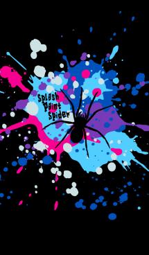 スプラッシュ・ペイント・蜘蛛(銀河×黒)