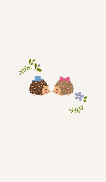 [LINE着せかえ] ハリネズミカップルファイル - 花と植物の画像