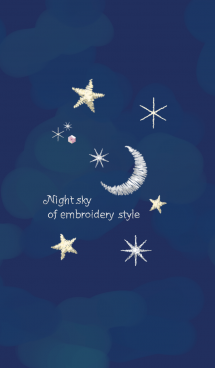 Night sky of embroidery-style 画像(1)