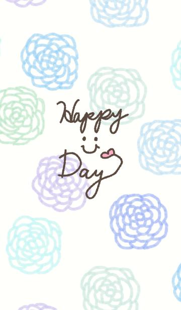 青色水彩お花柄-スマイル19-の画像(表紙)