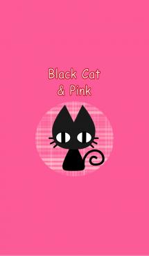黒猫とピンク 画像(1)