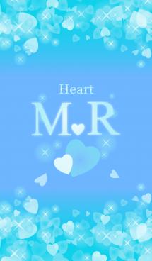 M&Rイニシャル運気UP!幸せのハート青ブルー