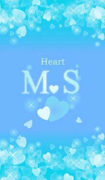 M&Sイニシャル運気UP!幸せのハート青ブルー