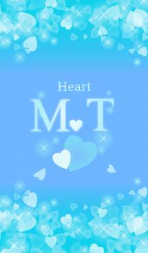 M&Tイニシャル運気UP!幸せのハート青ブルー