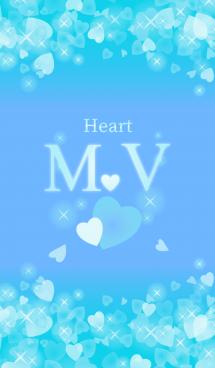 M&Vイニシャル運気UP!幸せのハート青ブルー