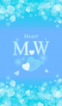M&Wイニシャル運気UP!幸せのハート青ブルー