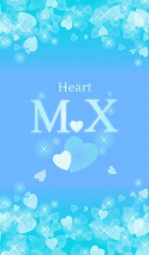 M&Xイニシャル運気UP!幸せのハート青ブルー