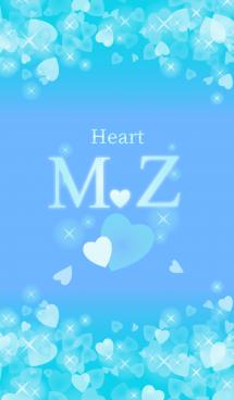 M&Zイニシャル運気UP!幸せのハート青ブルー