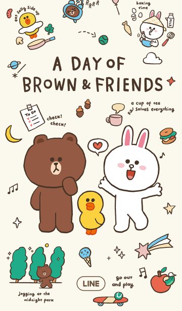 [LINE着せかえ] 楽しい1日♪BROWN&FRIENDSの画像