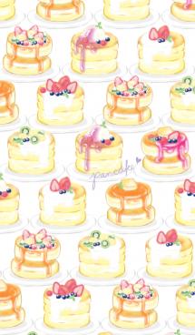 苺パンケーキ/いっぱい:オトナ水彩画 画像(1)