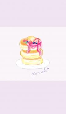 苺パンケーキ/パープル:オトナ水彩画 画像(1)