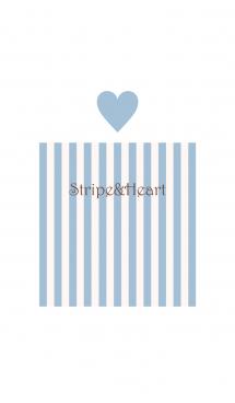 Stripe&Heart - SmokyBlue+Beige - 画像(1)