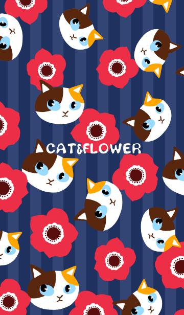 [LINE着せかえ] シックな和風の猫と花の画像