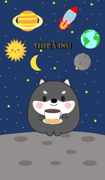 [LINE着せかえ] Cute black shiba inu In Galaxy Theme(jp)の画像