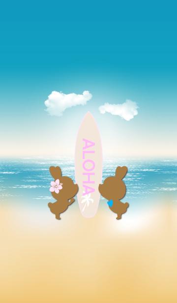 [LINE着せかえ] suntan rabbits and surfboard ALOHA 6.の画像