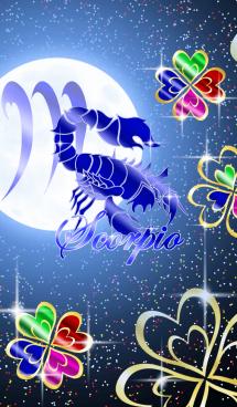 12星座 蠍座 -四葉のクローバーと月- 画像(1)