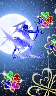 12星座 射手座 -四葉のクローバーと月- 画像(1)