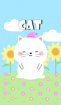 Happy White Cat DukDik Theme (jp) 画像(1)