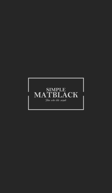 MAT BLACK -SIMPLE-の画像(表紙)
