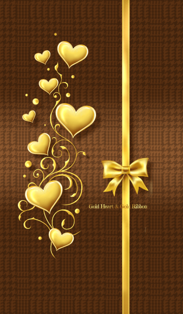 [LINE着せかえ] Gold Heart & Gold Ribbon #2020 brownの画像