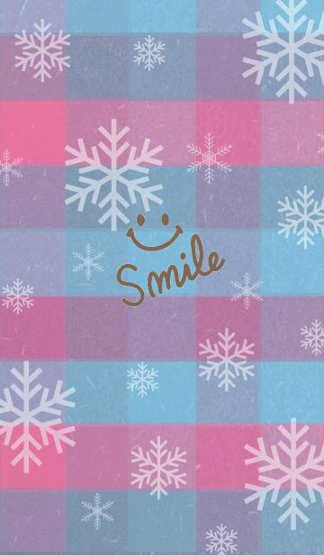 雪の結晶チェック青/ピンク-スマイル7-の画像(表紙)