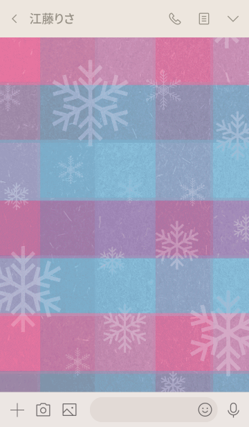 雪の結晶チェック青/ピンク-スマイル7-の画像(トーク画面)