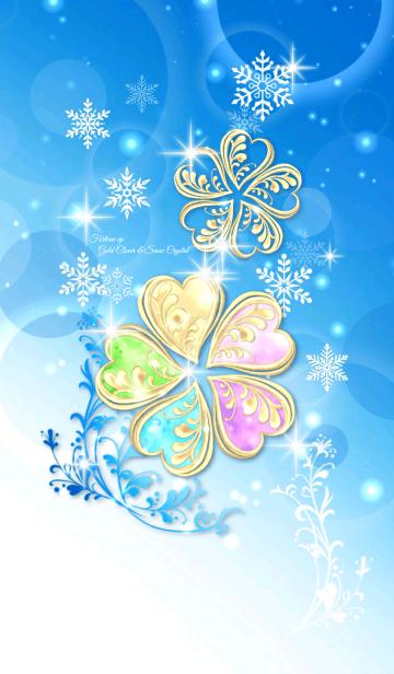 運気上昇❤︎黄金5つ葉クローバーと雪の結晶の画像(表紙)