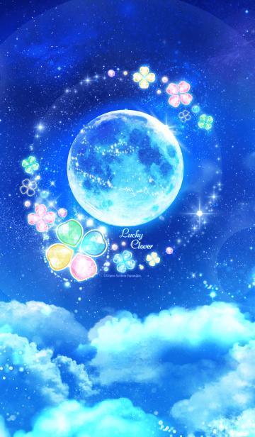[LINE着せかえ] 幸せを呼ぶ満月とクローバーの着せかえ☆彡の画像