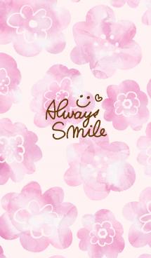 ピンク水彩お花柄 スマイル3 画像(1)